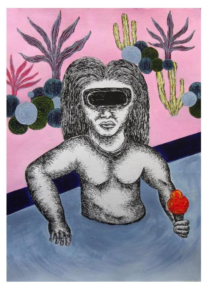 亞紀選 張碩尹 Chang Ting Tong VR 75.5 × 56 cm 2017 墨、壓克力彩、手工紙本 Ink, Acrylic on Paper