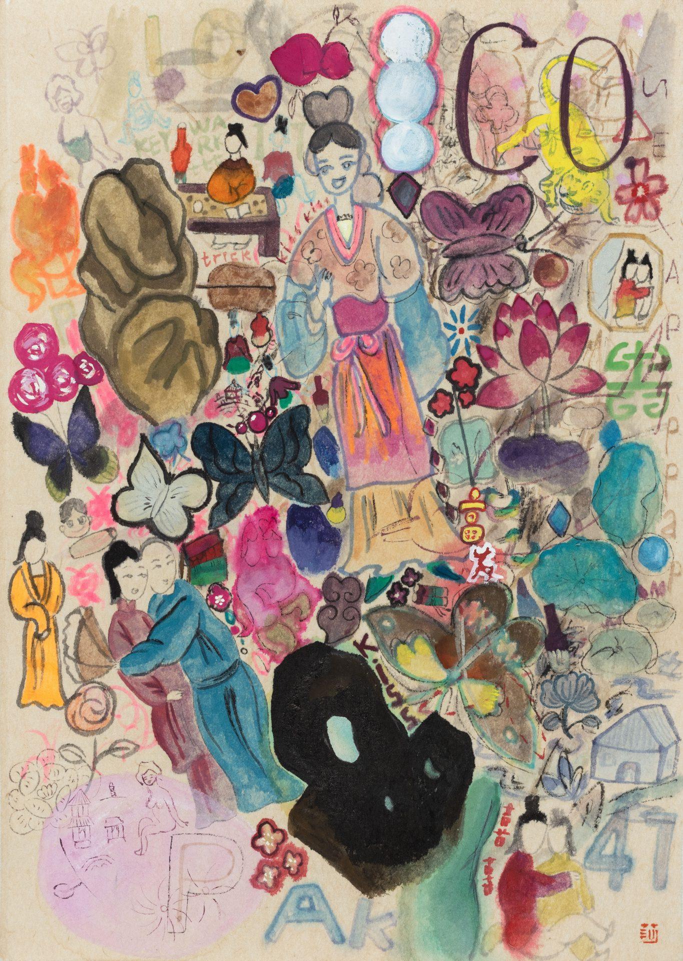 王濛莎 Wang MengSha, 霓裳 Gown, 2021, 紙本設色 color on paper, 30 x 21 cm